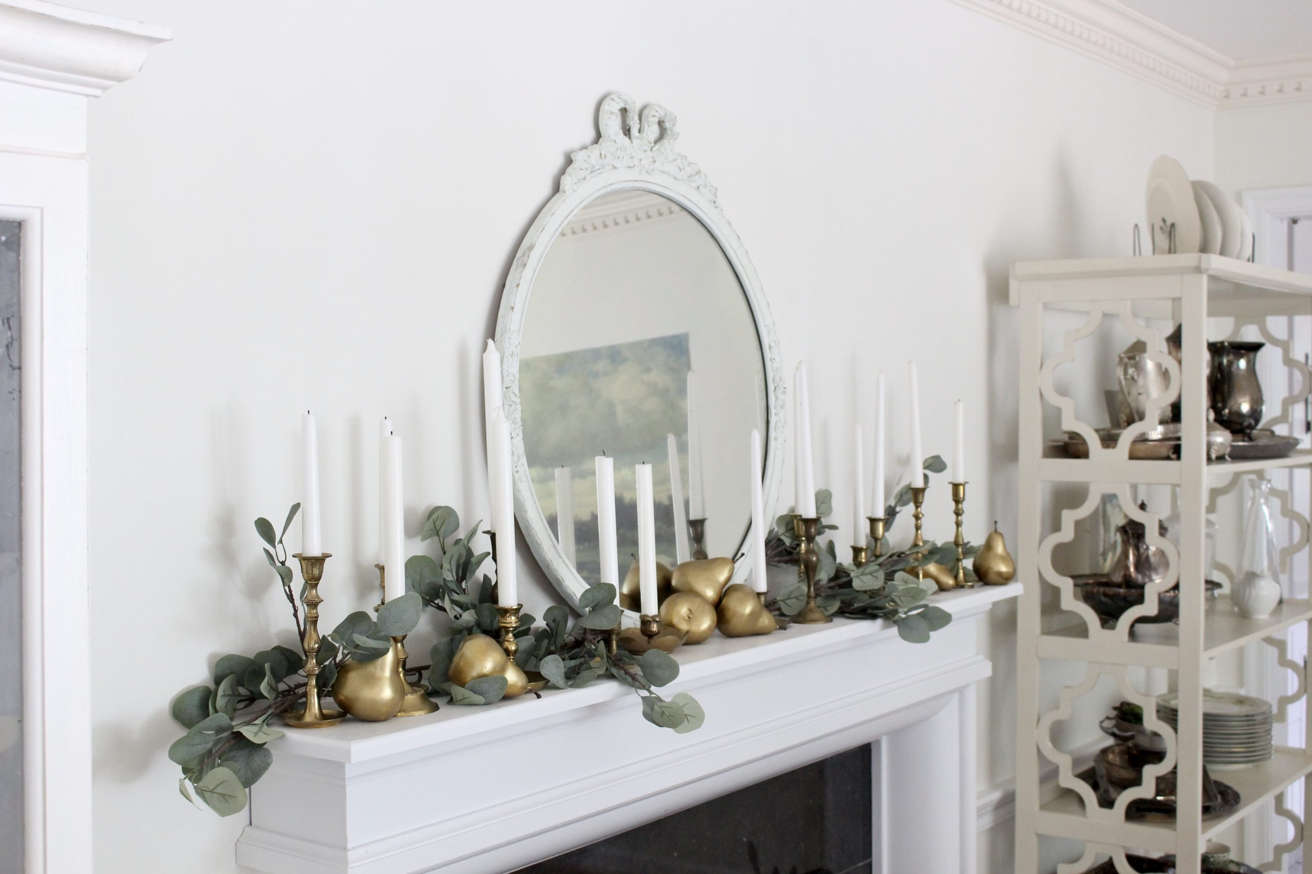 Fall Mantel decorated with vintage candlesticks and diy gold pears~ White Cottage Home & Living