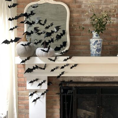 Halloween Mantel with Bats~ White cottage home & living