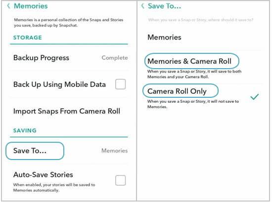 save snapchat to camera roll