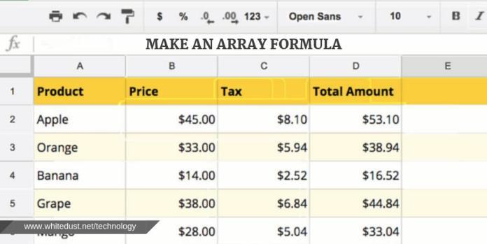 Make an Array Formula