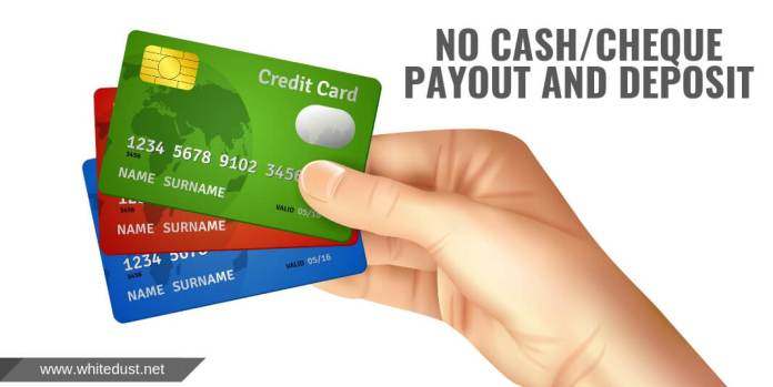 No Cash/Cheque Payout And Deposit