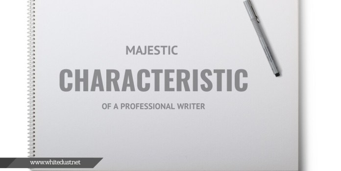 Majestic Characteristic of a Professional Writer