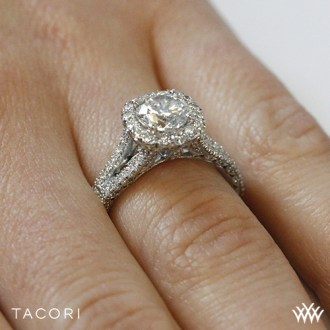 Tacori HT2548 CU 65 Petite Crescent Split Shank Halo Diamond         Ring Side View      On hand view