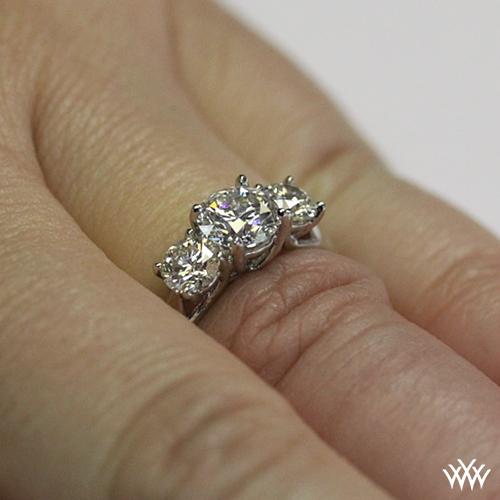 3 Stone Trellis Diamond Engagement Ring 1025