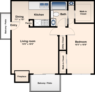 1 Bed / 1 Bath / 730 ft² / Availability: Please Call / Deposit: $300 / Rent: $595