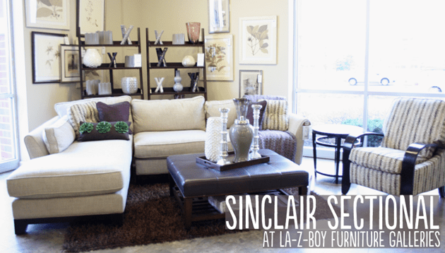 Sinclair Chaise Sectional At La Z Boy Furniture Galleries : la z boy chaise - Sectionals, Sofas & Couches