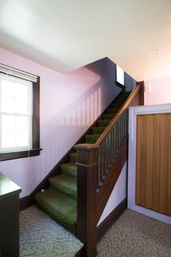 Stairs Going Upstairs Dark Wood Green Carpet White House Black   White And Dark Wood Stairs   Medium Dark   Foyer   Stair Railing   Indoor   Traditional