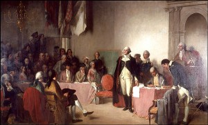 Washington resigning as General two days before Christmas of 1783