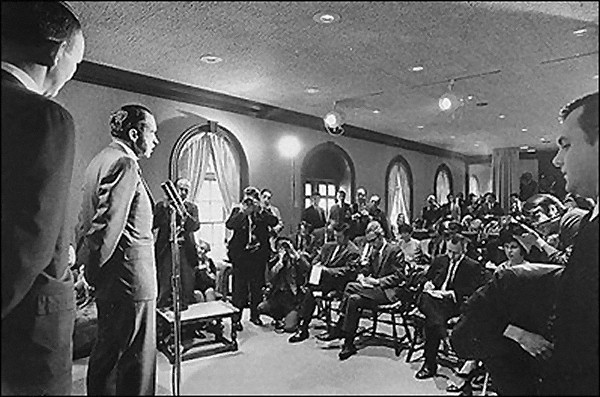 Richard M. Nixon giving a press conference in the newly renovated briefing room