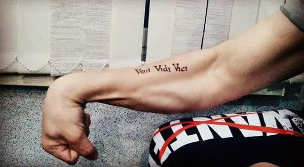 forearm veni vidi vici words tattoo