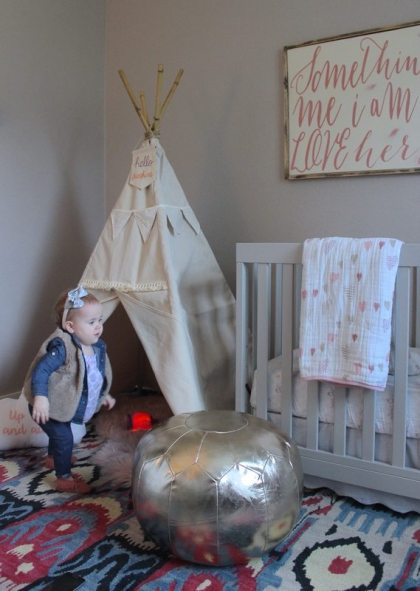 Pink Nursery With Teepee, Moder Crib and Gold Pouf