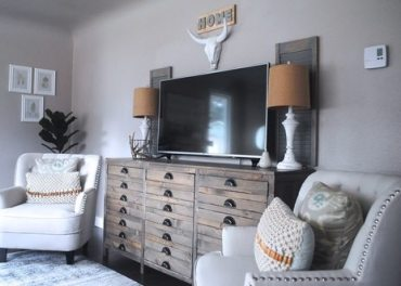 Cream Accent Chairs, Printers Cabinet, Painted Shabby Chic Lamps, Fiddle Leaf Fig Tree