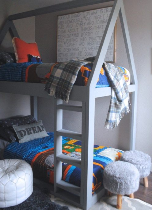 Build A House Bunk Bed - White Picket Farmhouse