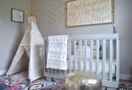 https://www.whitepicketfarmhouse.com/pretty-pink-nursery/, baby nursery, pink nursery, hip nursery, babyletto nursery