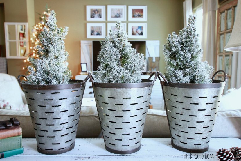 Charlie Brown Christmas Trees in Olive Buckets. Farmhouse Christmas Decorations, Easy DIY Decorations