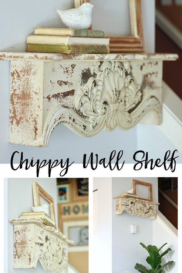 Chippy Wall Shelf, Buy It! http://bit.ly/2lTzqfe Or Visit www.whitepicketfarmhouse.com to read about my chippy wall shelf from decor steals