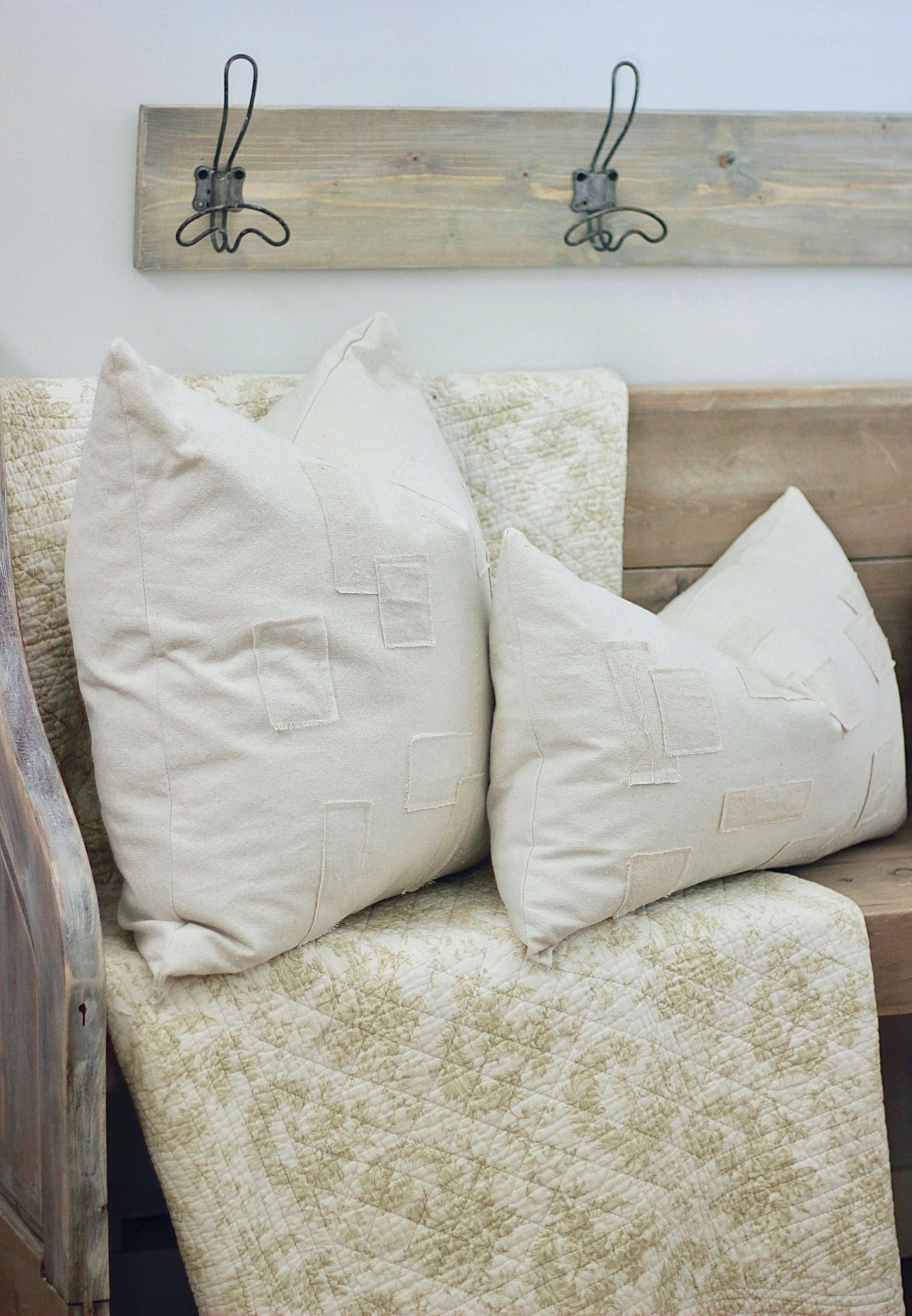 Grain Sack Patch Pillows DIY, Learn How To Easily Make these gorgeous pillows for pennies! www.whitepicketfarmhouse.com