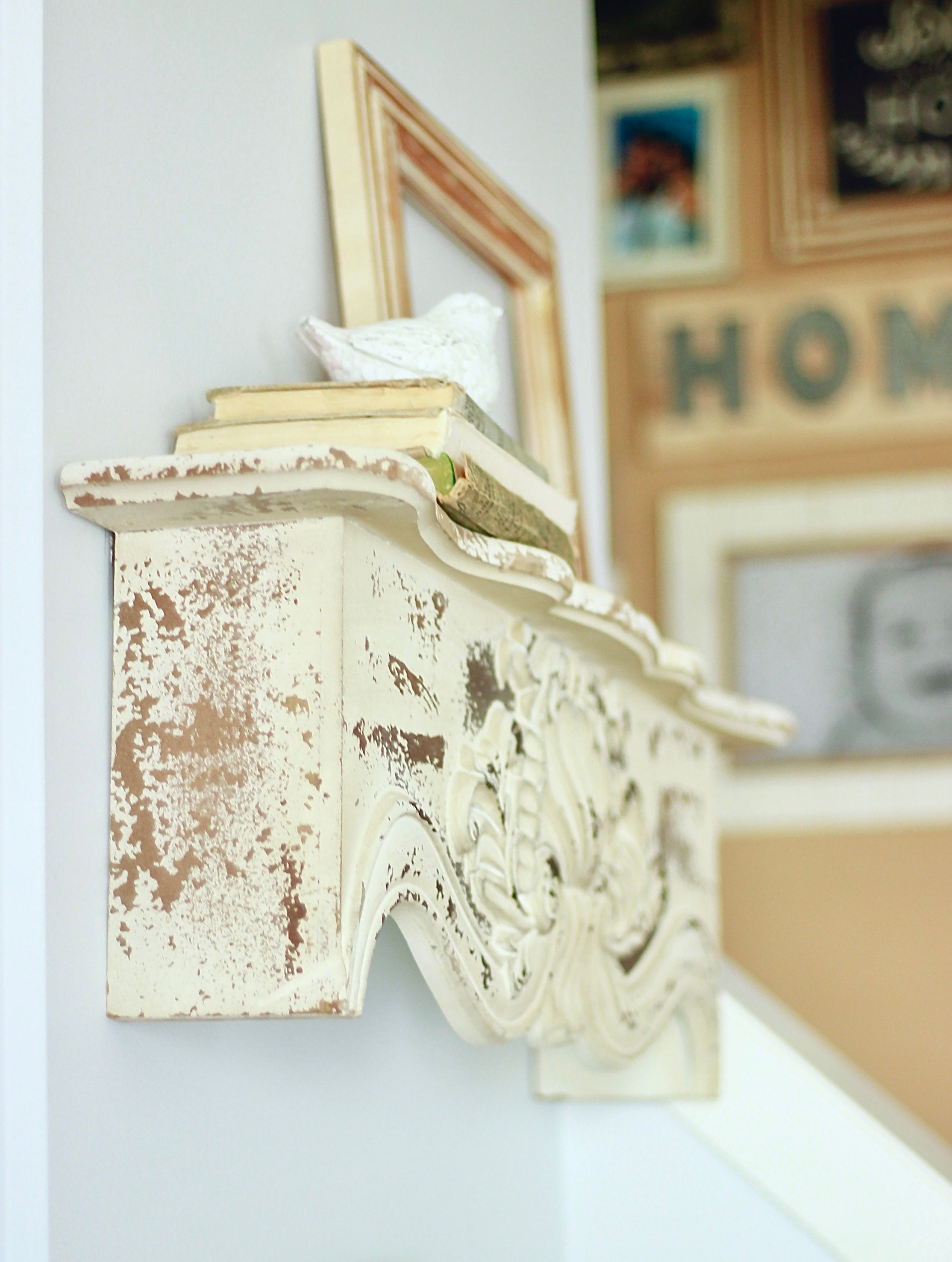 Chippy Wall Shelf. How I styled it & Where I found it for Cheap. I absolutely love how it looks with the rest of my vintage decor. Affiliate links to purchase your own www.whitepicketfarmhouse.com
