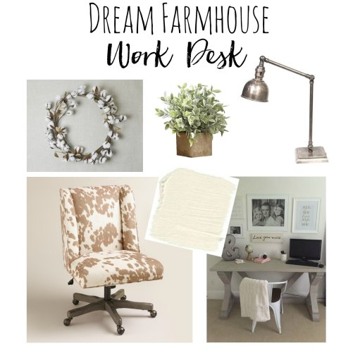 White Farmhouse Office Update, See my completed office and how I finished it for under 400 dollars www.whitepicketfarmhouse.com