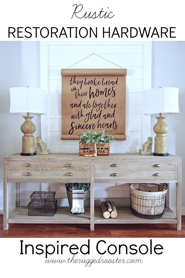 Our Restoration Hardware Inspired Console. Plans Coming Soon. For more DIY's Check out www.whitepicketfarmhouse.com, Sofa Table, Printmakers Console, Entrance Table, Buffet