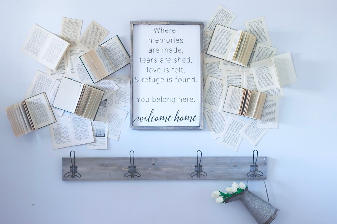 Vintage Book Wall, My Farmhouse Wall Decor www.whitepicketfarmhouse.com