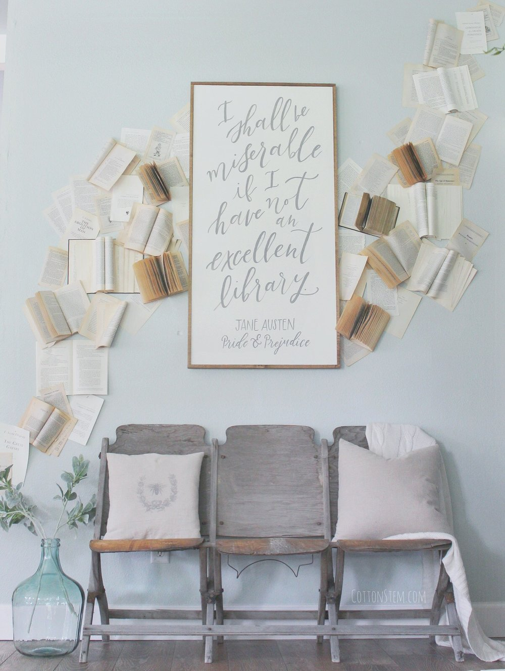 My Vintage Book Wall, Farmhouse Decor www.whitepicketfarmhouse.com