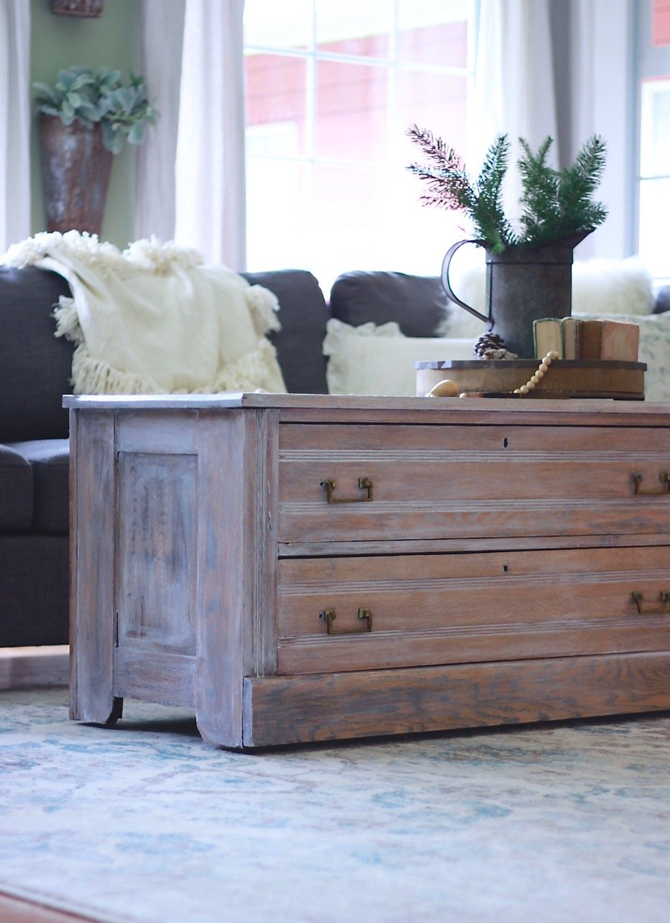 Weathered oak coffee table, fixer upper, Joanna Gaines, antique refinished furniture