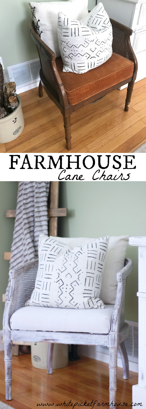 DIY Cane Chairs, How to Reupholster and refinish them easily, Farmhouse Cane Chairs On A Penny, Cheap Decorating