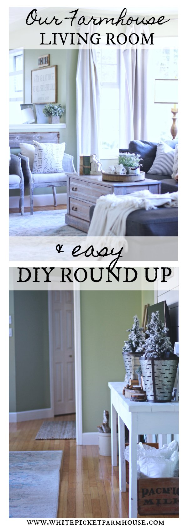 Our DIY Farmhouse Living Room. How We spent pennies on it and made it look amazing. DIY Roundup of all the projects from our Farmhouse Living Room www.whitepicketfarmhouse.com #FarmhouseLivingRoom #DIY #EasyDIYs #CheapDIYS