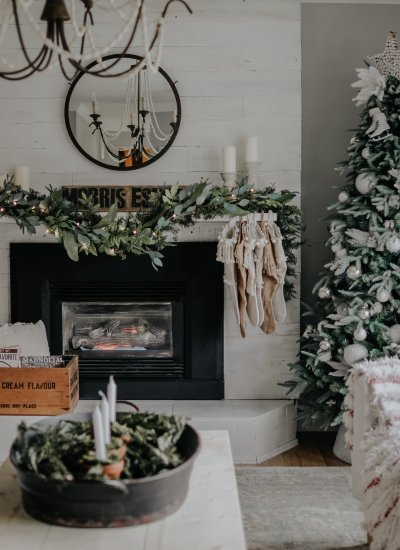 Our Painted Fireplace DIY. We Painted Over Our Plank and Mill Stickwood Fireplace with Magnolia Homes Shiplap Paint