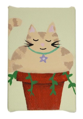 Potted Cat II by Heather Miller | WhiteRosesArt.com
