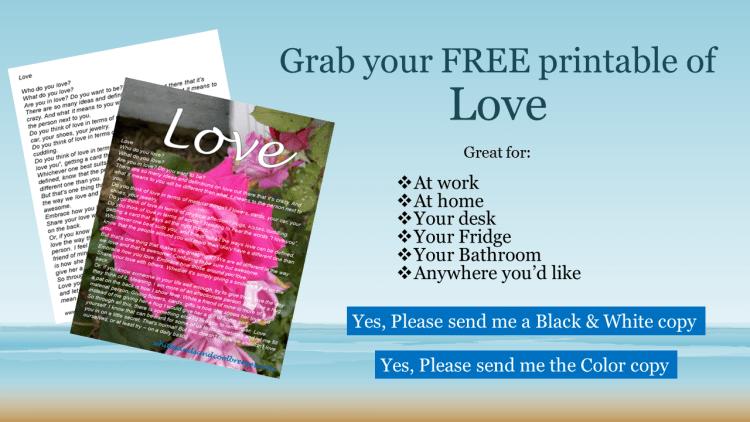 Grab your FREE printable of Love.