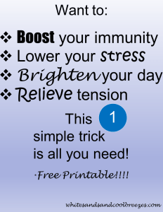 Want to boost your immunity? Lower your stress? This one simple trick is all you need. Free Printable included!