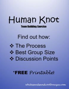 Human Knot team building exercise. Want to to know how it's done? You've found the right place. You'll learn the best group size for the activity, how to actually do it and discussion points for the group. Plus a FREE printable so you don't have to write it down!