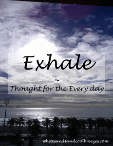 Exhale- Thought for the Every Day. Do you hold your breathe when your stressed or excited? Remember to exhale!