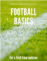 Football field with text overlay – Football basics for a first-time watcher.