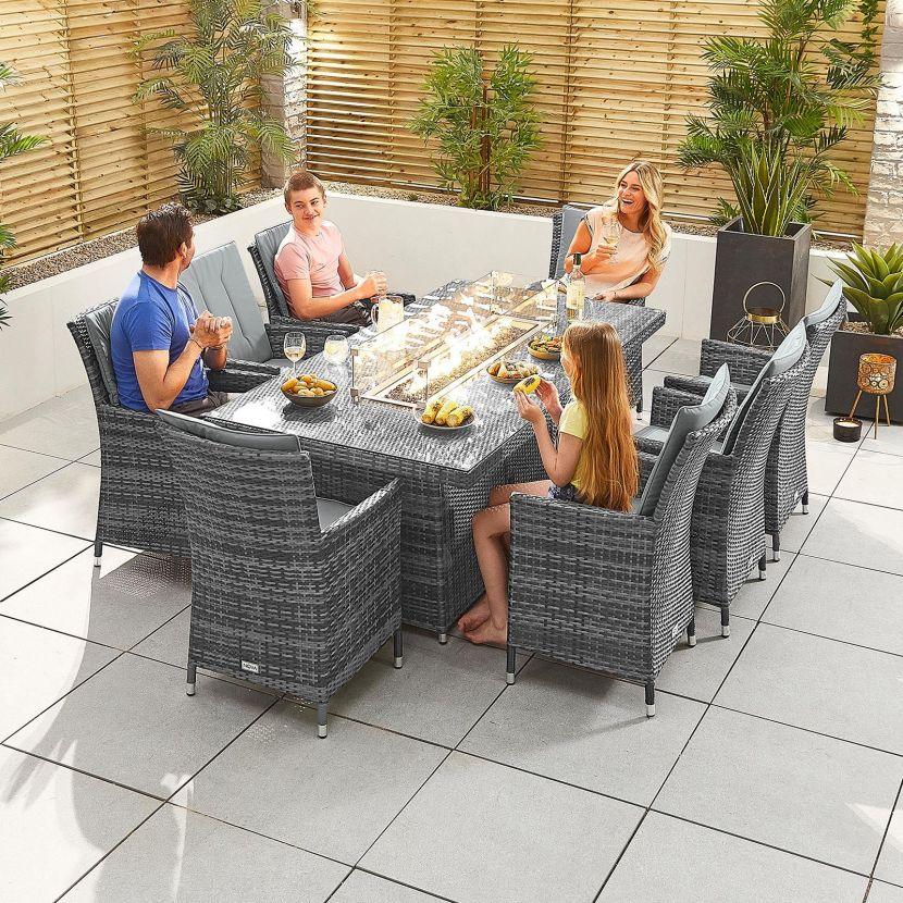 sienna 8 seat dining set 2m x 1m rectangular firepit table