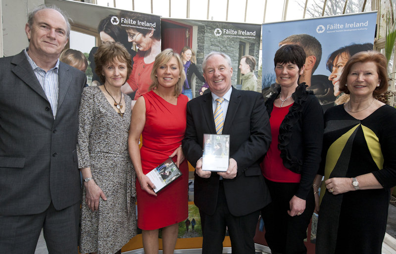 Pictured at the launch of Fáilte Ireland's 'New Vision in Action' B&B development DVD and presentation of certificates at Farmleigh, were (l. to r.): John and Martha O'Neill, Mala Rua B&B; Tracey Coughlan, Fáilte Ireland; Michael Ring T.D. Minister of State for Tourism and Sport; Mary Houghton, Whitestrand B&B with Anne Campbell, Ardeen House.