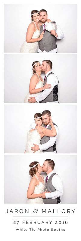 Photo booth strip of 4 pictures of a bride and groom