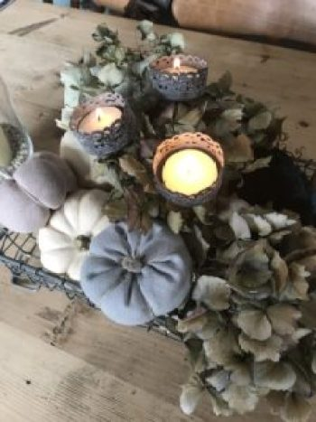 Pumpkins and tealight table centrepiece e1508335990143 225x300 - Autumn Decor - Decorating a Mannequin and a Pumpkin Obsession