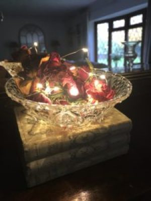 glass bowl fairy lights and dried roses on books e1510643179214 225x300 - Faffing, the art of and another favourite pass-time in my world