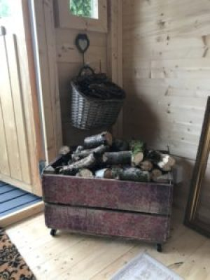logs and kindling at Belles e1511769448128 225x300 - Pot Bellied Stove - a necessary addition to The Shepherds Hut