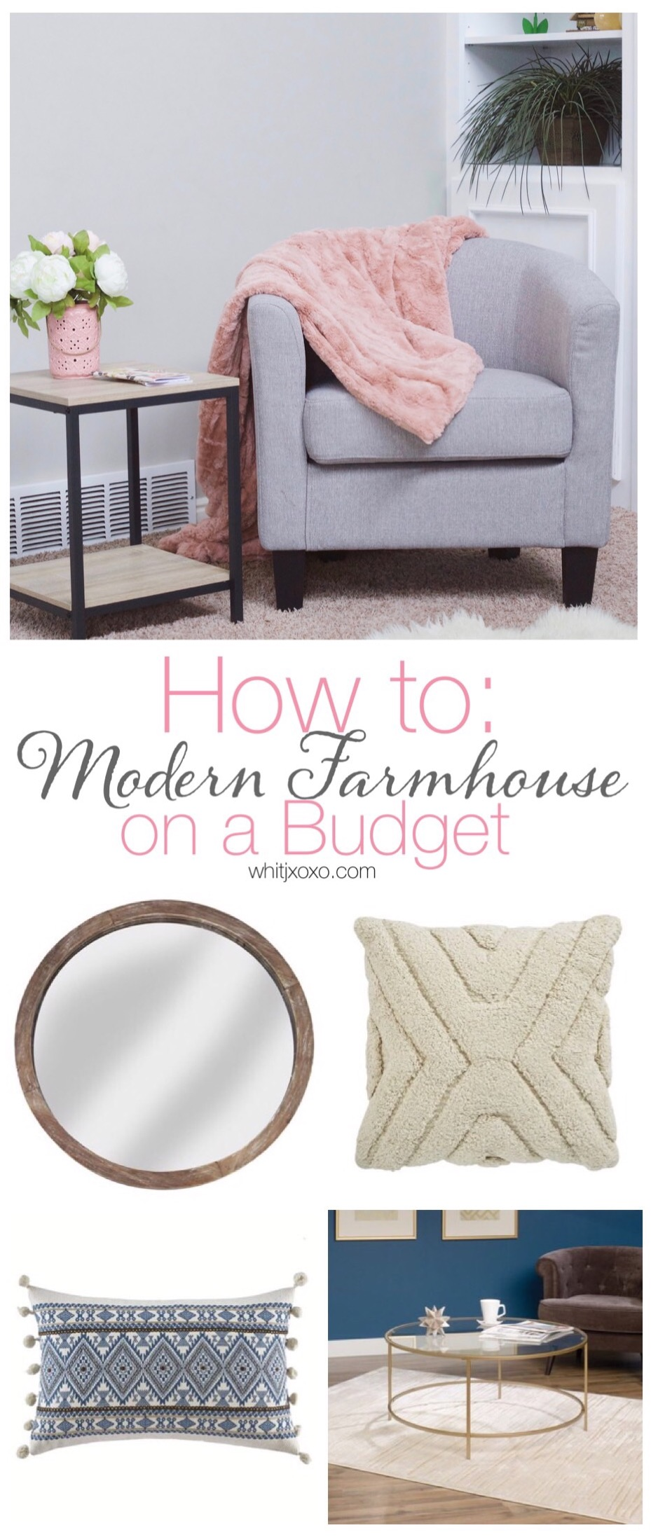 Do you want to do modern farmhouse design in your home but think it's impossible to stick to a budget? Well, it's not and this post will show you how! | whitjxoxo.com
