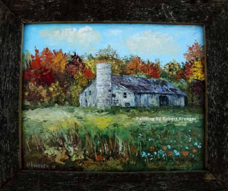 "Painting of Copp barn titled ""Copp's Country"""