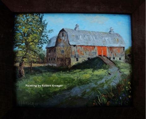 "Painting of Hurley barn titled ""The Whiteleather"""
