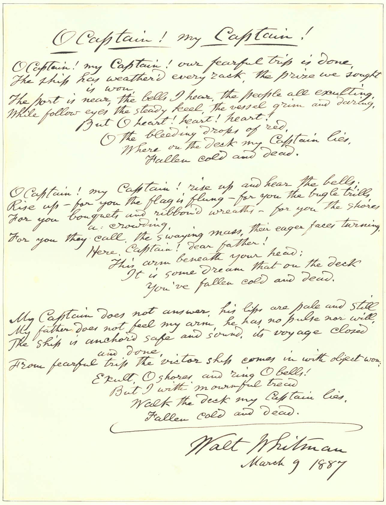 O Captain My Captain Poetry M Cript