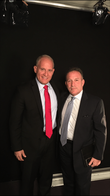 Phil Whitman with Jeff Weiner, Managing Partner of Marcum LLP after video recording interview for 101 Firm Leaders: The Path to Partner at Accounting Today's studio.