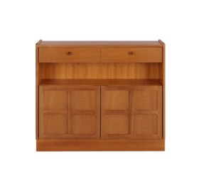 Classic Teak Low Bookcase with Doors