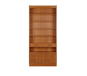 Classic Teak Tall Bookcase with Doors