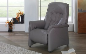himolla Rhine Recliner, shown in grey leather finish, in a living room setting.